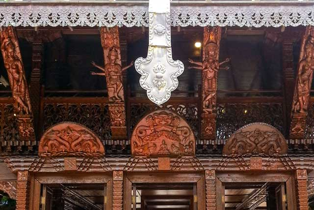 The detail of the wood carving on the Nepalese pagoda at the Brisbane Cultural Centre.