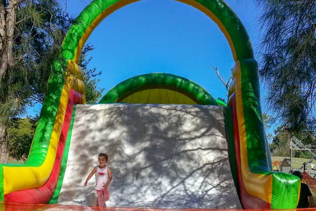 A jumping castle slide at Simmo's Ice-creamery