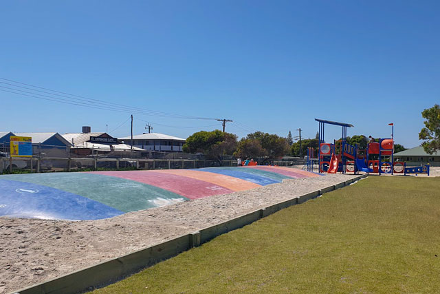 The playground in Lancelin with the free jumping pillow