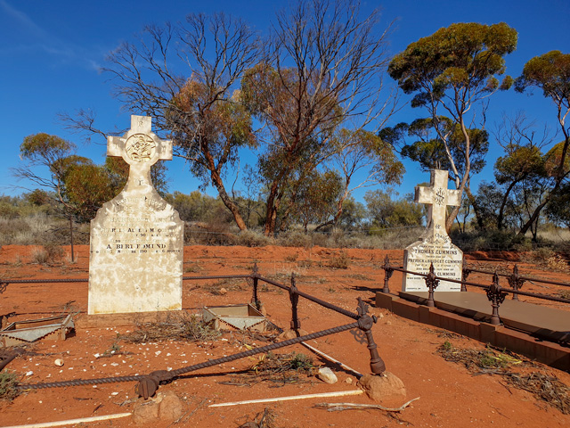 A couple of graves at Menzies Cemetery.