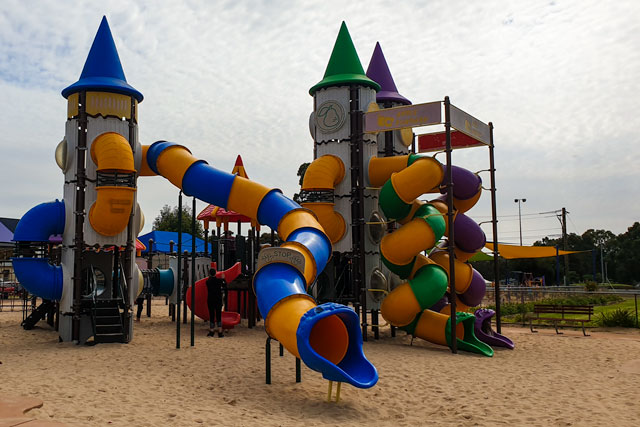The large slides at the Apple fun park