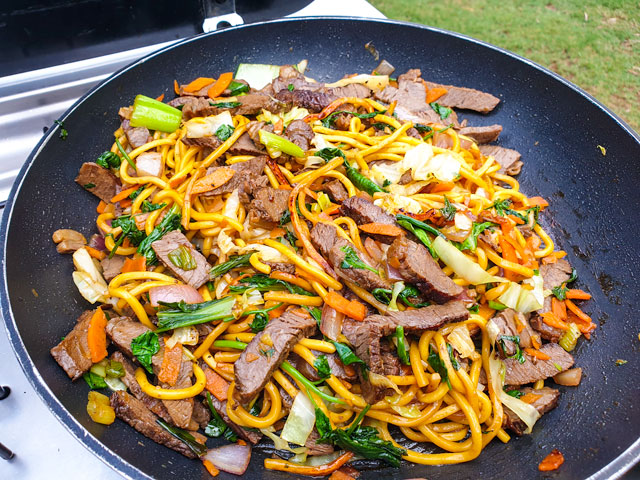 the noodles once they were cooked, with beef added