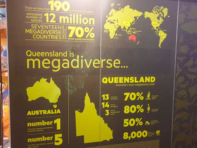 A sign from the Museum of Queensland with information on Queensland's biodiversity.